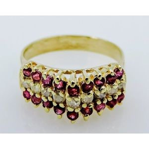 Jewelry - 14K Yellow Gold Estate Ruby and Diamond Ring
